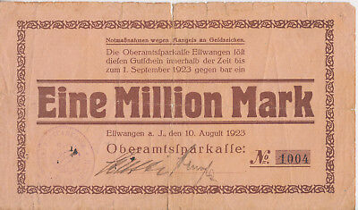 Notgeld Eine Million Mark 1923. Oberamtssparkasse Ellwangen.