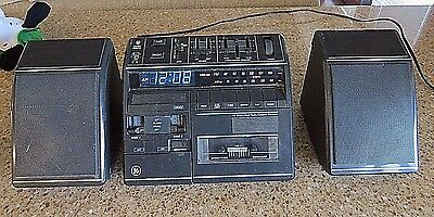 Vintage GE General Electric Stereo Cassette Recorder, Alarm Clock Radio 7-4970A