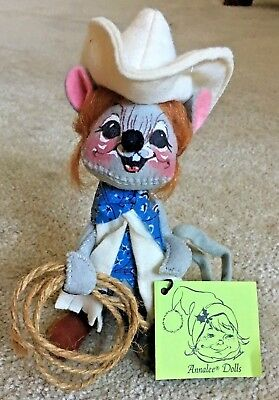"""Annalee Cowgirl Cow Girl 7"""" Ec Mouse Dolls 1974 Retired Ln With Tags Western"""