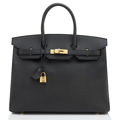 c0ae3836748 Hermes Black 35cm Birkin Bag Epsom Gold Hardware C Stamp