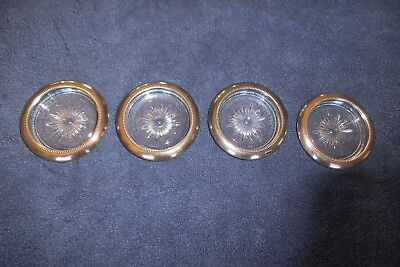 Four  Vintage Leonard Sterling Silver Plate Crystal Coasters  Made in Italy