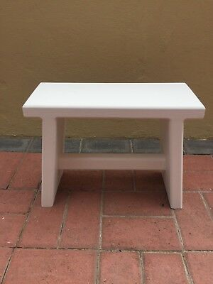 Home Made Childrens or Kitchen Wooden Stool in White