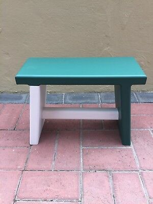 Home Made Childrens or Kitchen Wooden Stool in Green and White