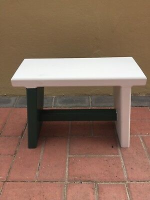 Home Made Childrens or Kitchen Wooden Stool in White and Green