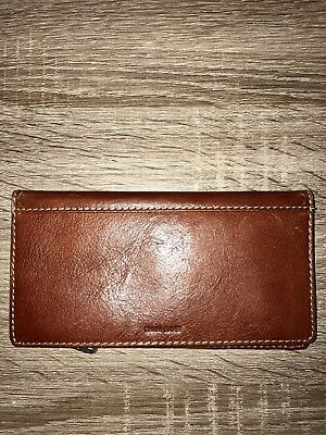 Fossil Bifold Brown Leather Checkbook Organizer Card Wallet