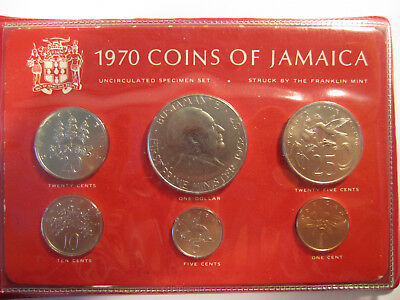 1970 coins of jamaica uncirculated specimen set AS SHOWN *3386