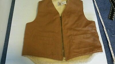 Vintage CARHARTT 6SV Brown SHERPA LINED Hunting Duck Canvas Vest X Large