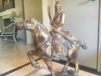 Antique Wooden Gilded Gold Chinese Warrior on Horse