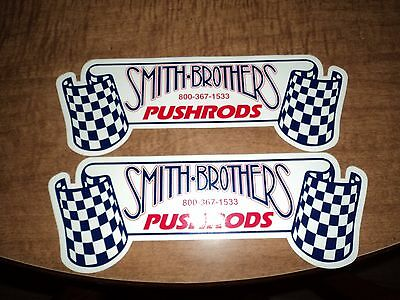Lot of 2 SMITH BROTHERS push rods drag racing decals stickers hot rod large size