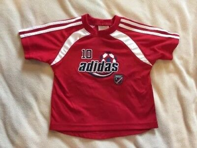 Baby Toddler Adidas Soccer Jersey Top Red Short Sleeve Size 24 months 2
