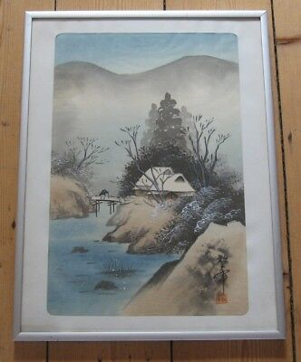 Vintage Japanese Painting On Silk, House & Stream In Winter, Signed & Red Seal