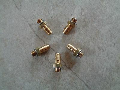 """Qty of 5~Brass Straight Ftgs~Male 10-32 UNF to Barbed fits 3/16"""" or 5mm Hose ID"""