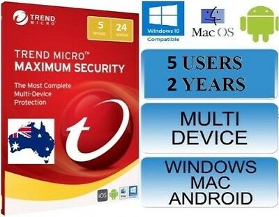 Trend Micro Maximum Security 12 (2018)  2 Years Licence  5 Devices
