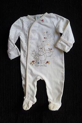 Baby clothes UNISEX BOY GIRL 0-3 Disney Pooh Bear/Piglet cream babygrow SEE SHOP