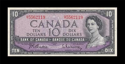 1954 BANK OF CANADA QEII $10 **Beattie & Rasminsky** (( EF+ ))