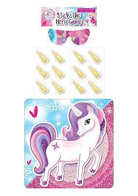 Unicorn Pin The Horn On The Unicorn Party Game Kids Blindfold 12 Sticker Horns