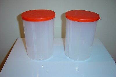 TUPPERWARE DIVIDED CANISTERS 3 IN 1 - CLEAR WITH ORANGE SEALS (SET of 2)