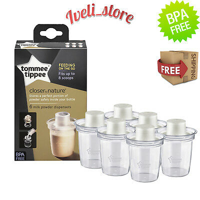 Tommee Tippee Closer to Nature Travel Milk Powder Holder Dispensers x 6 BPA Free