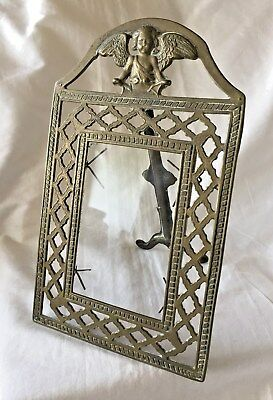 VICTORIAN Brass TABLE TOP Easel PICTURE FRAME with WINGED ANGEL Top. Late 1800's