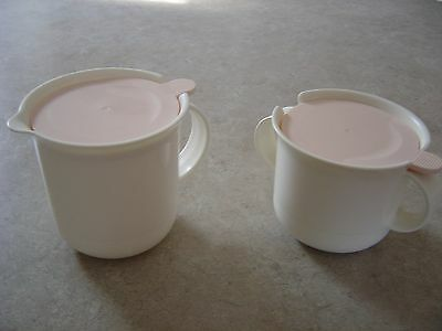 """Tupperware """"tabletop"""" Collection Sugar And Creamer - Ivory Rose Covers"""
