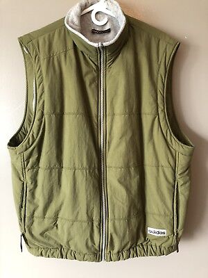 Mens Adidas military Green Large Down style vest full zip