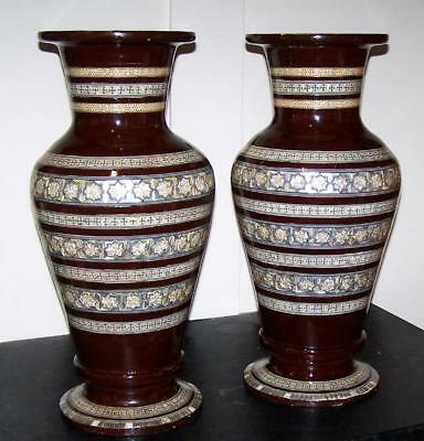 Pair LARGE DECORATIVE Vintage ARABIC WOODEN VASES Mother Of Pearl Inlay