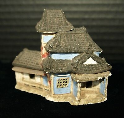 Antique Japanese miniature pottery mud house building diorama hand made signed