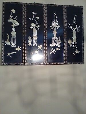 Rare Vintage Oriental Mother of Pearl Black Laquer 4 Panel Single Screen Art