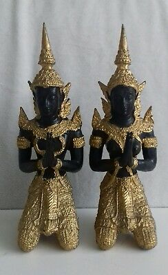 Vintage Male & Female Gilt Bronze Thai Teppanom Temple Praying Buddha