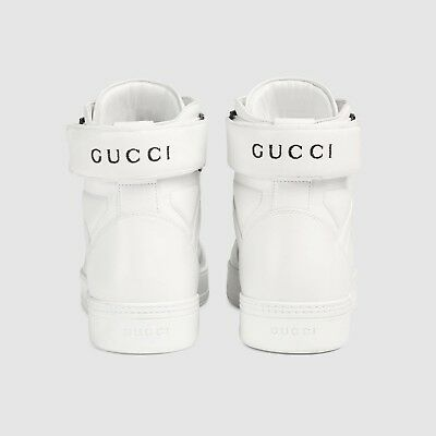 fc381152aa5  870 NEW GUCCI Men s combo high-top sneaker White   White G 10+ ...