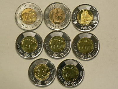 2010 to 2015 Canada $2 Toonies Lot of 8 Unc Coins  No Duplicates  #G9004