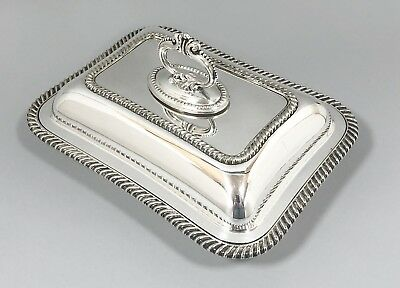 Art Deco silver plate Walker & Hall entrée dish vegetable tureen ornate gadroon
