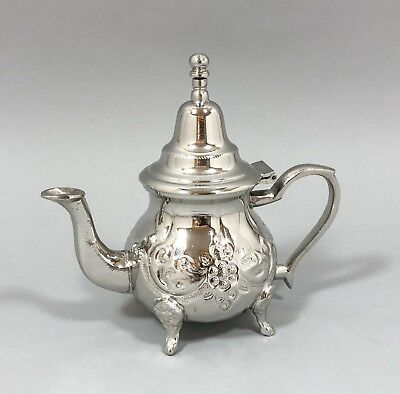Vintage silver plate Moroccan/Turkish miniature coffee/teapot floral embossed