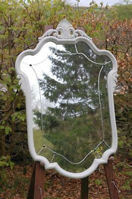 Antique French Crested Wall Mirror Louis Xv Revival 1890 Ornate Painted Oak