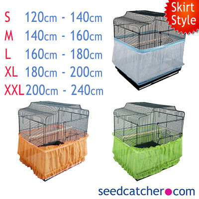 SKIRT STYLE Bird Cage Seed Catcher Guard Tidy Pile Fabric White Green Orange