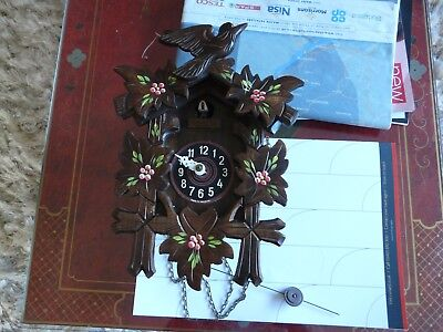 Lovely Black Forest Cuckoo Clock With Painted Flowers