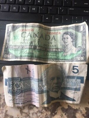 Lot of 2 Bank of Canada notes $1 1967 and $5 1986 Circulated