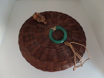 "Antique Chinese Sewing Basket Green Glass Handle Beads 7"" Great Condition!"