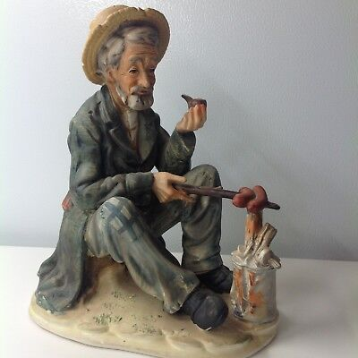 Vintage Norleans Elderly Man with Pipe Campfire Ceramic Figurine (Japan)