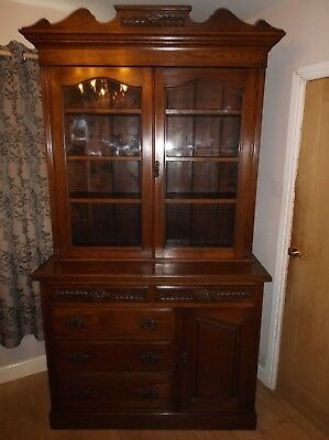 Super Victorian Large Solid Oak Carved Bookcase Cabinet Sideboard