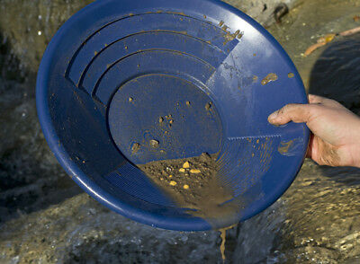 "14"" Blue Plastic Gold Pan Mining Nugget Prospecting Dredging River Panning New"