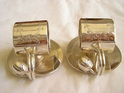 Pair Rogers Smith & Co Lily Pad Floral Silverplated #168 Napkin Rings