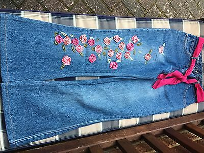 Girlz Unlimited Denim Jeans with Velvet Roses & Embroidery Age 9-10
