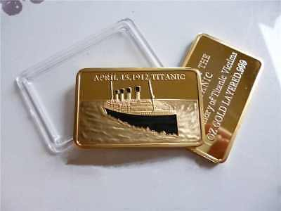 1 Oz RMS TITANIC 1912 COMMEMORATIVE GOLD PLATED BAR IN MEMORY OF TITANIC VICTIMS