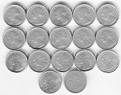 17-LOT of DIFFERENT DATES of US QUARTERS with NO REEDED EDGE