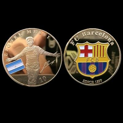 1 X Messi Argentina Barcelona Fc Soccer Signed Coin  New Football Best Goat