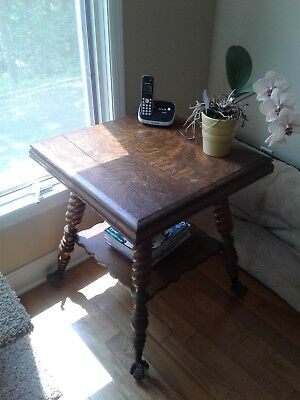 Antique Oak Accent table with glass ball and claw feet