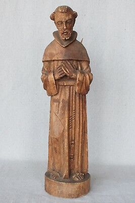 Vintage Mexican Hand Carved Wooden Saint Francis Assisi Statue Religious Santos