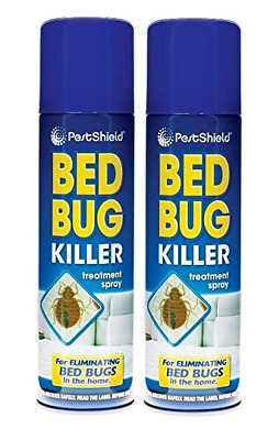 2 x PestShield Indoor Bed Bug Flea Killer Treatment Spray Carpet Mattress 200ml