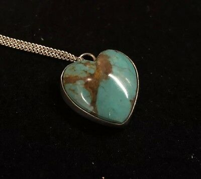 "Vintage Sterling Silver Heart Turquoise Pendant 3/4"" Across, Necklace 18"" Long"